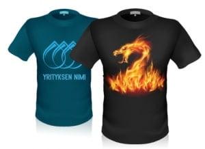 T-paita omalla kuvalla ja logolla